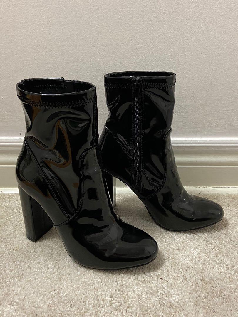 Patent high heel boots