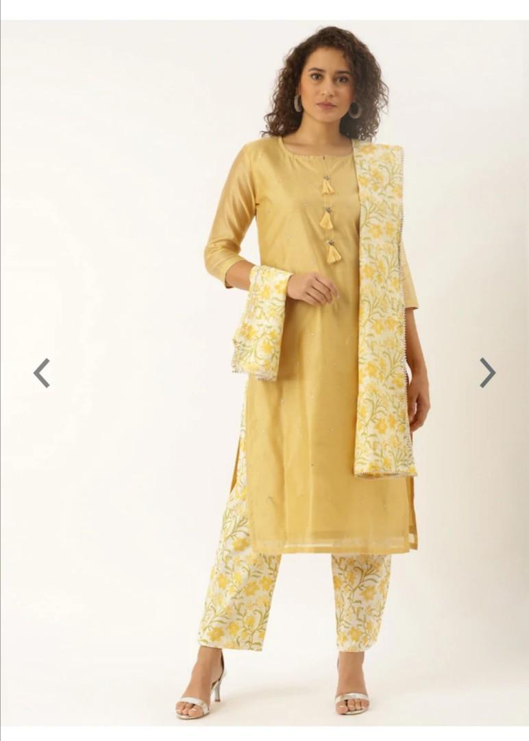 Soch Women Mustard Yellow Embellished Kurta with Palazzos & Dupatta, Product Code: 11531370