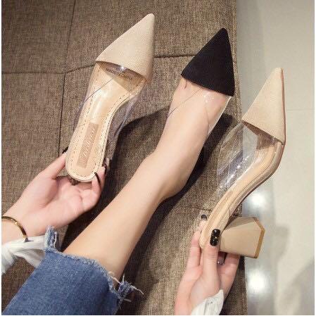 Translucent suede heels