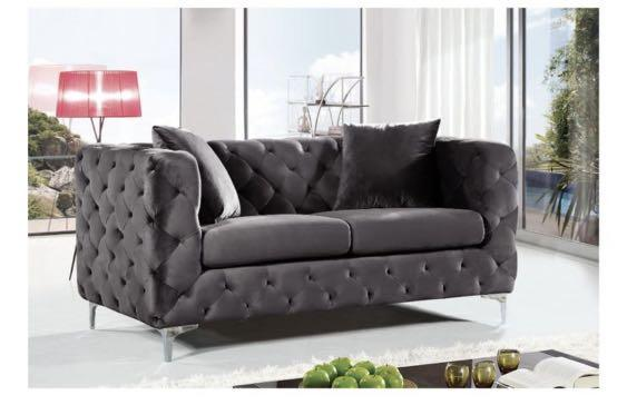 Upholstery Glam Tufted Sofa set and Modern Marble Coffee Table