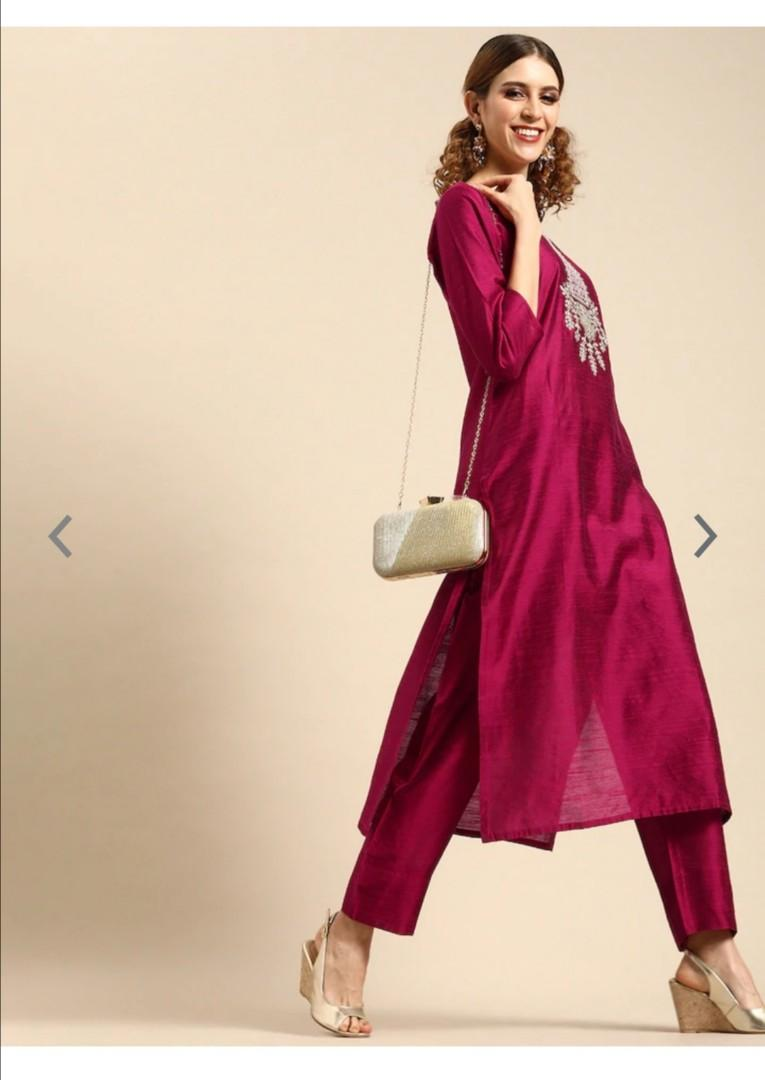 Varanga Women Magenta Pink Embroidered Kurta with Trousers, Product Code: 11494108
