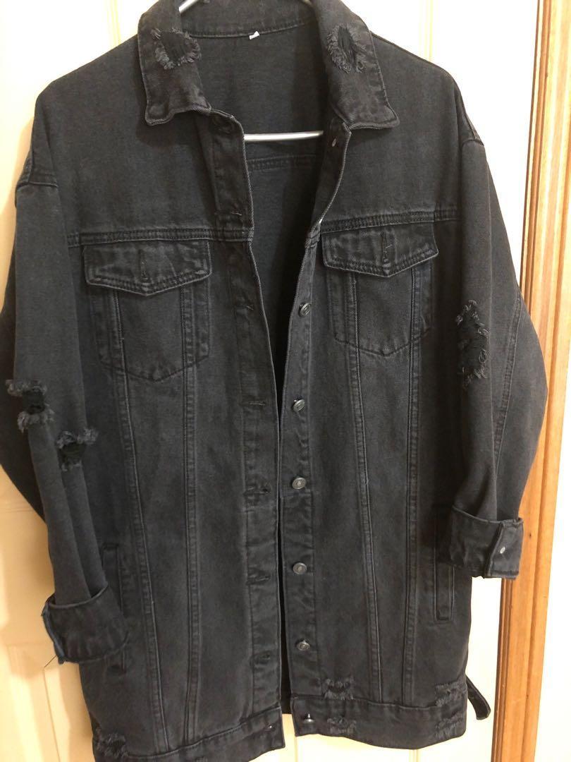 Women's oversized distressed jean jacket