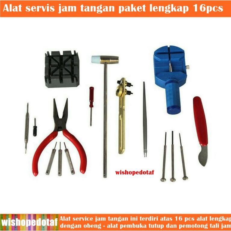 1 set alat service jam tangan 16pcs