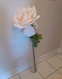 """27""""tall glass floor vase 43"""" tall off-white artificial flower"""