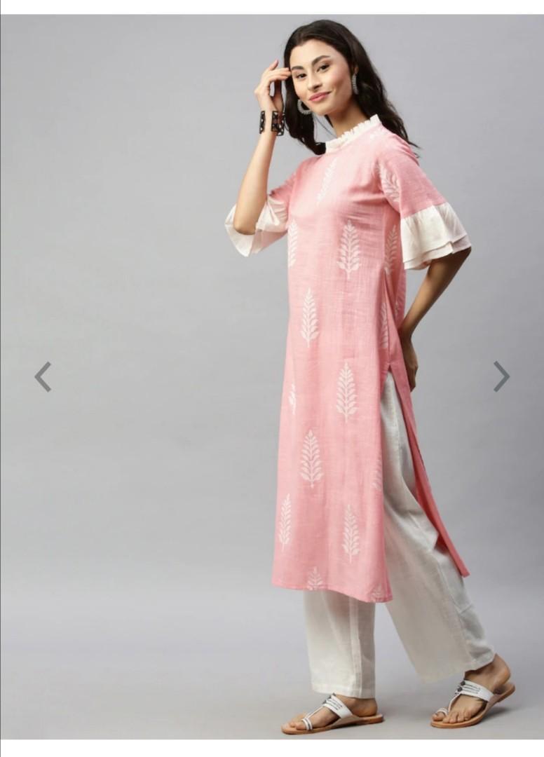 Aprique FAB Women Pink & White Printed Straight Kurta, Product Code: 12385236