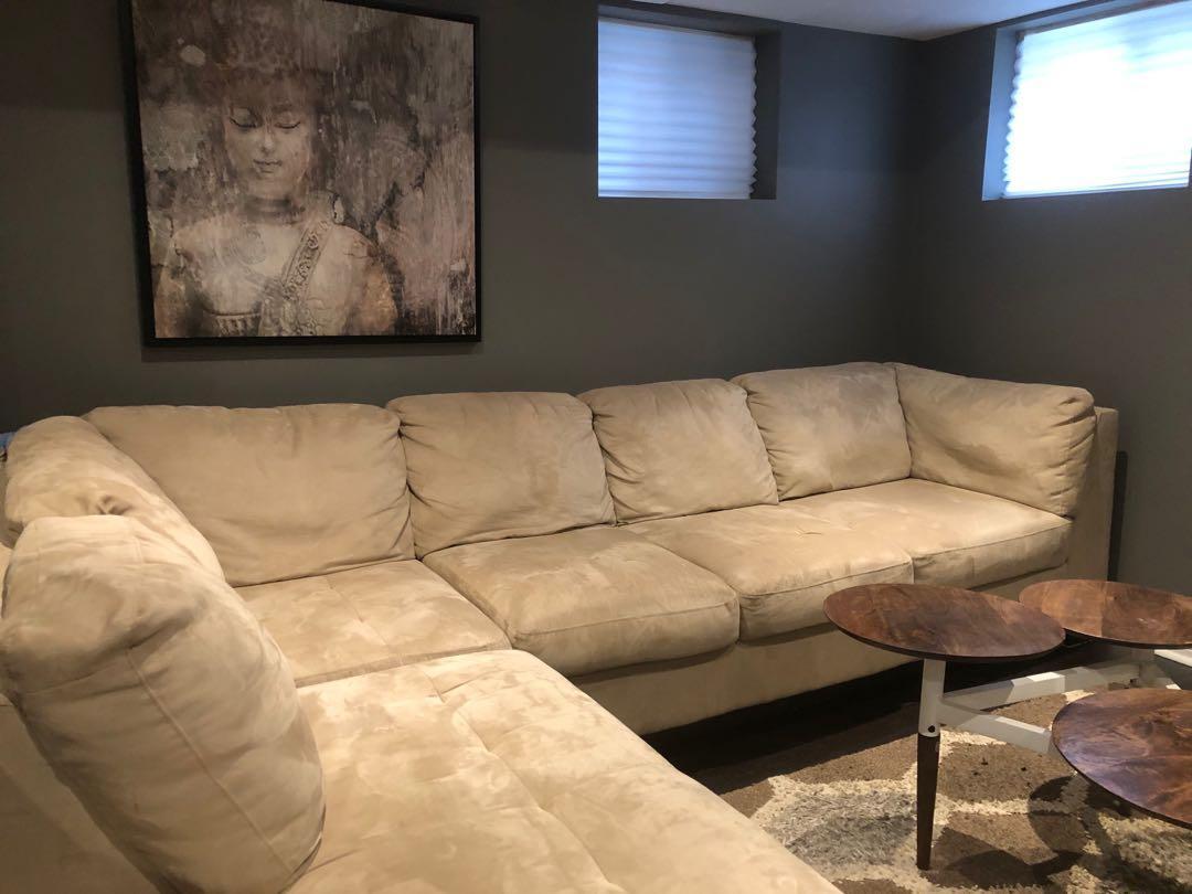 Beige suede sofa