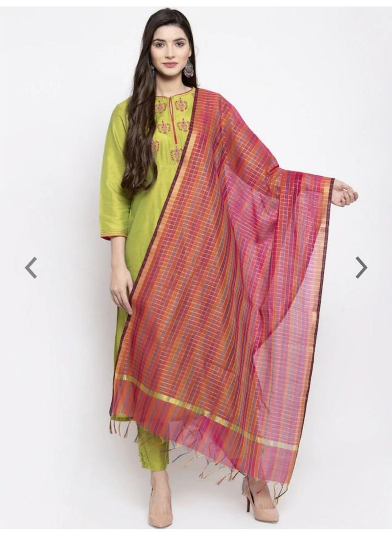 Bhama Couture Women Green Embroidered Kurta Set With Pyjamas & Dupatta, Product Code: 11399434