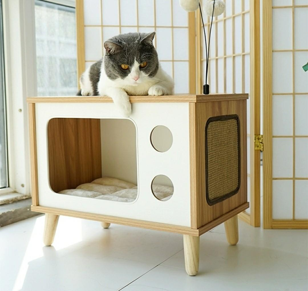 Cat Wooden House Side Table Bedside Pet Bed Pet Supplies For Cats Cat Accessories On Carousell