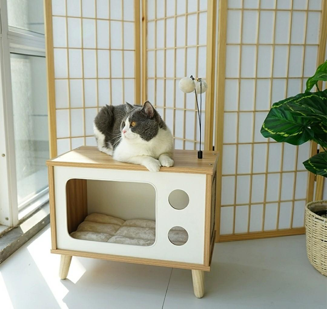 Picture of: Cat Wooden House Side Table Bedside Pet Bed Pet Supplies For Cats Cat Accessories On Carousell