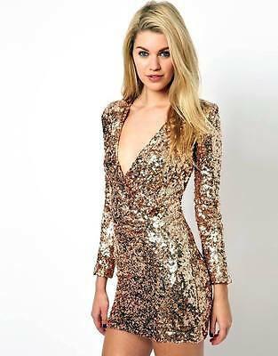 French connection gold champagne secret plunge dress size uk8 us4