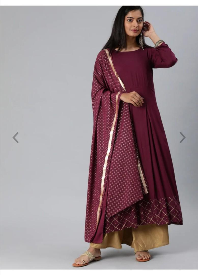 GoSriKi Women Burgundy & Gold-Toned Solid Kurta with Palazzos & Dupatta, Product Code: 12549960