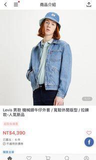 全新Levis 稀有拉鍊式牛仔外套