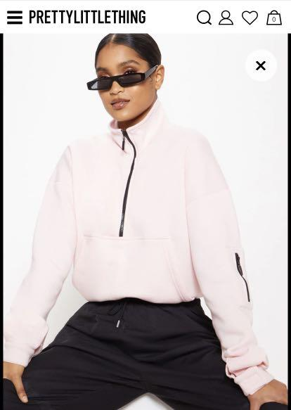 Small baby Pink pretty little thing quarter zip sweater