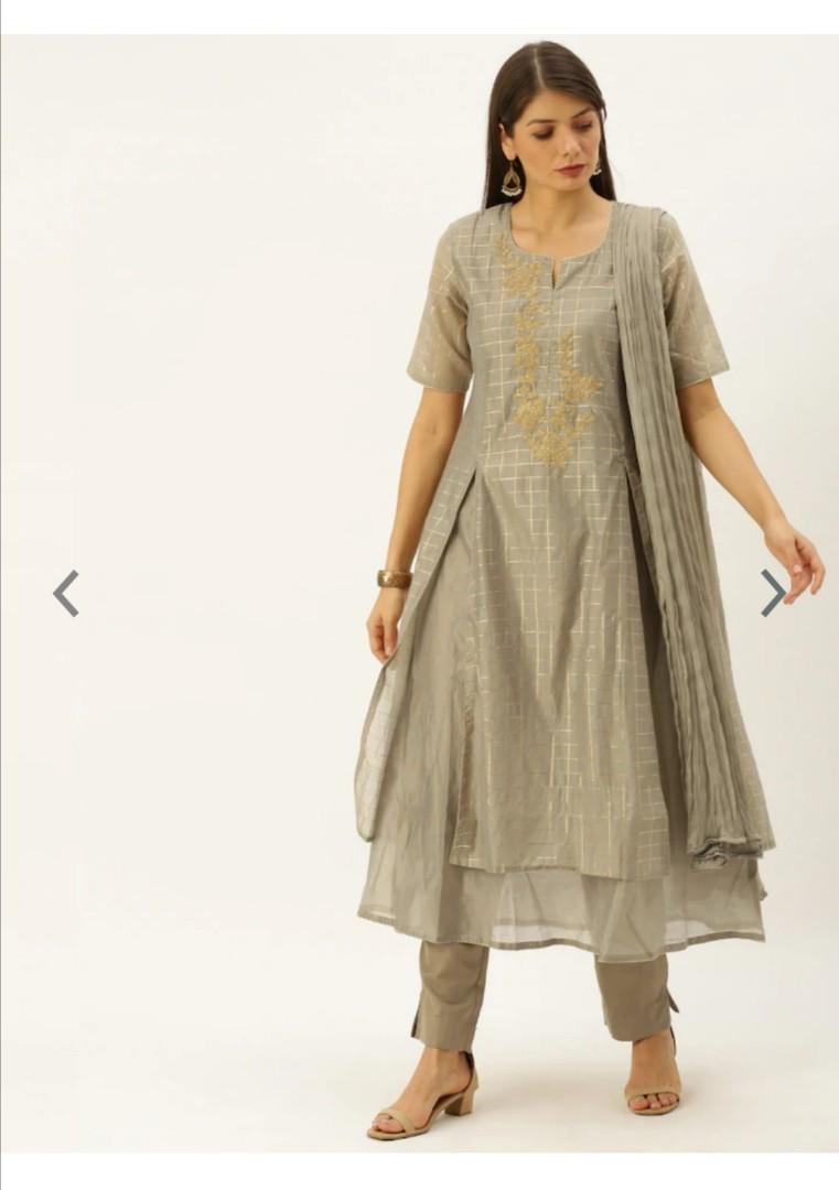 Soch Women Grey Foil Checked Kurta with Trousers & Dupatta, Product Code: 11864976