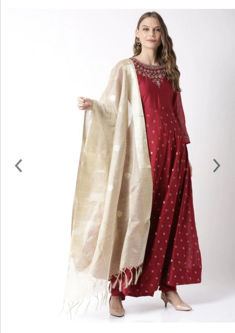 Soch Women Maroon & Cream-Coloured Woven Design Kurta with Trousers & Dupatta, Product Code: 12438776