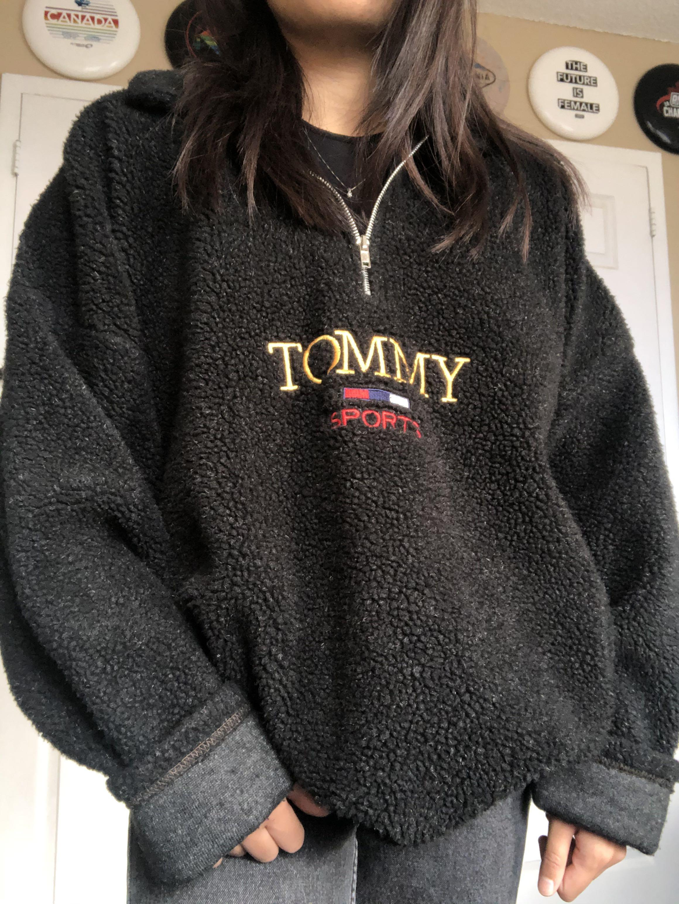 Tommy sherpa quarter zip sweater