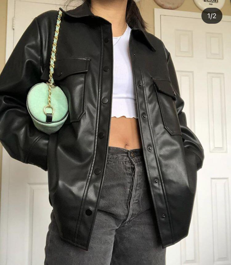 Topshop faux leather overshirt