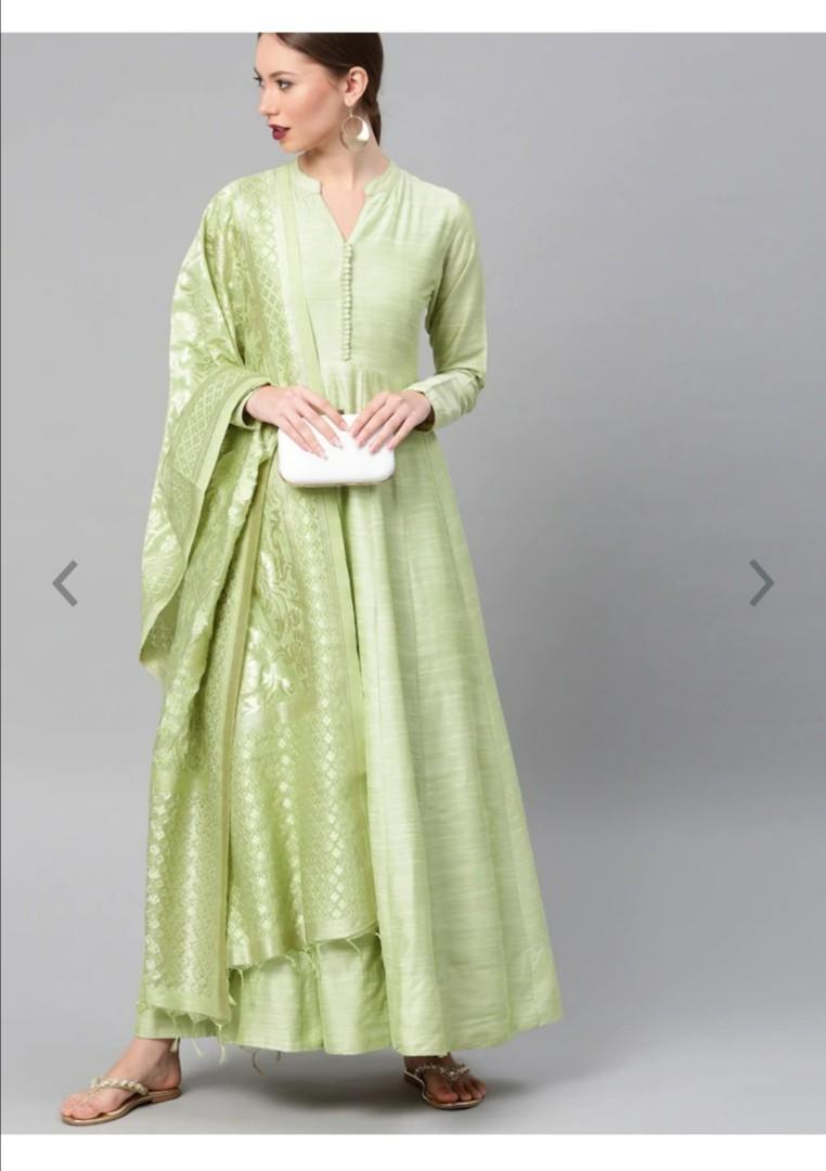 Vishudh Women Lime Green Solid Maxi Dress With Dupatta, Product Code: 7572980