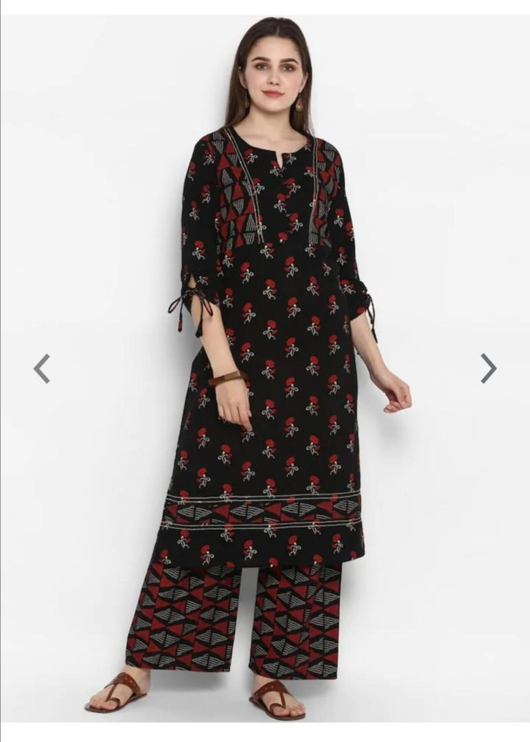 ZOEYAMS Women Black Printed Kurta with Palazzos, Product Code: 12769950