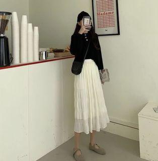 韓國白色皺摺長裙