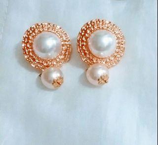 金色白珠耳環