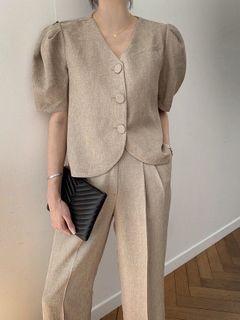 【現貨】韓國兩穿復古時尚套裝 泡泡袖上衣+休閒直筒長褲 卡其色
