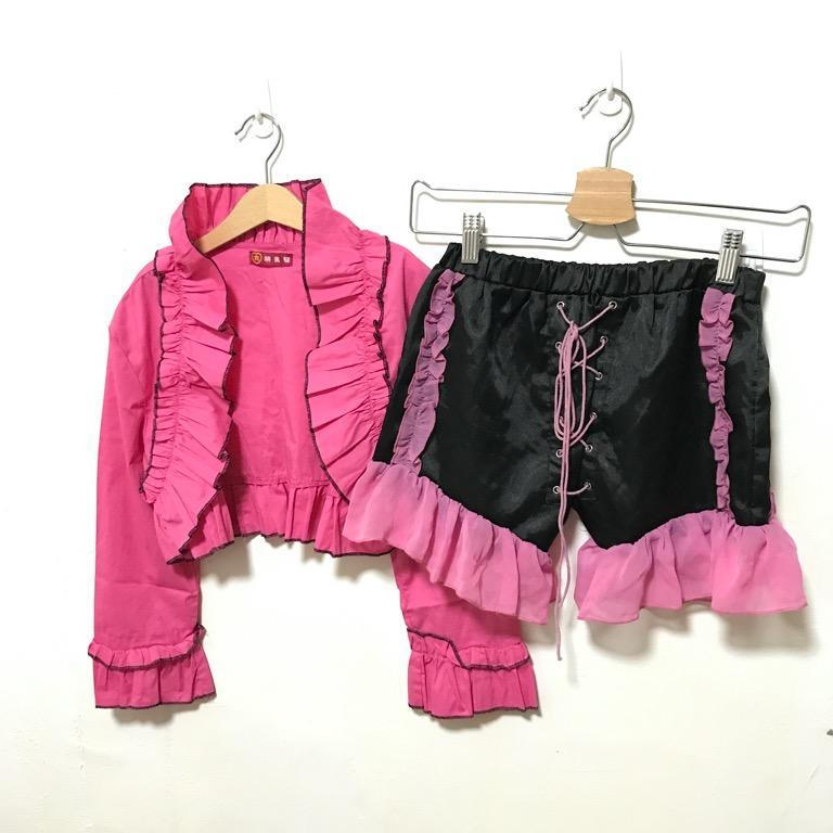【免費送】粉色芭比套裝 派對💖 桃紅短版外套+全新黑褲 #剁手價