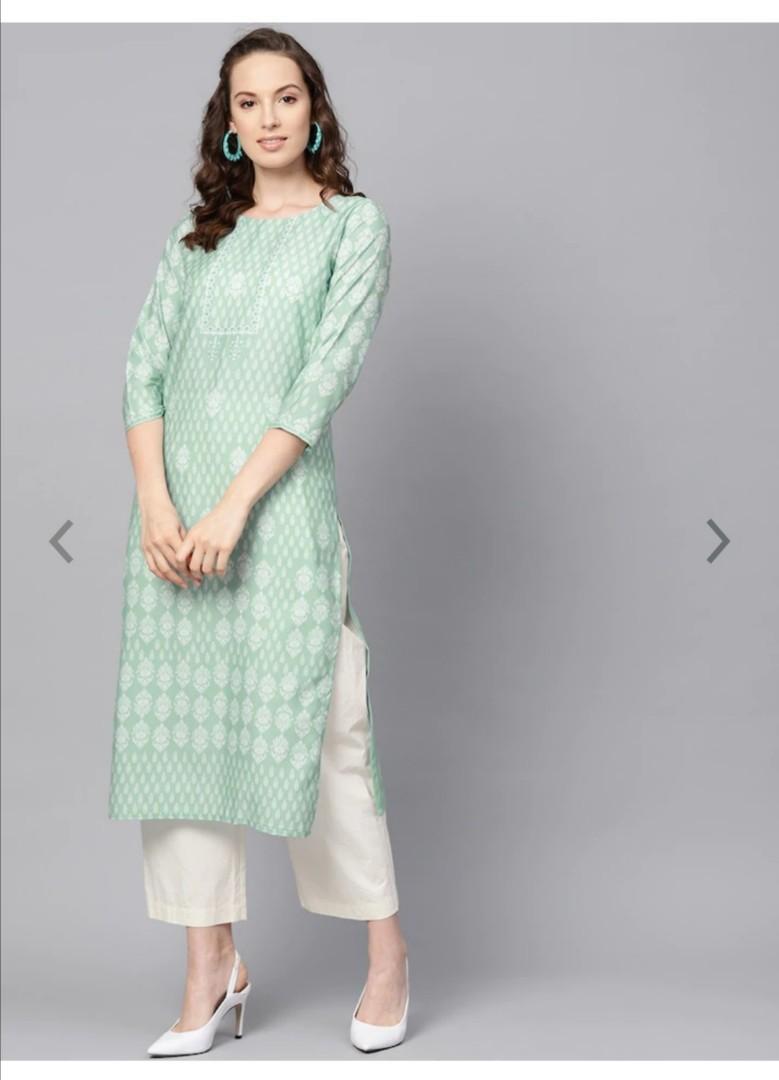 AHIKA Women Sea Green & White Printed Straight Kurta, Product Code: 10808318