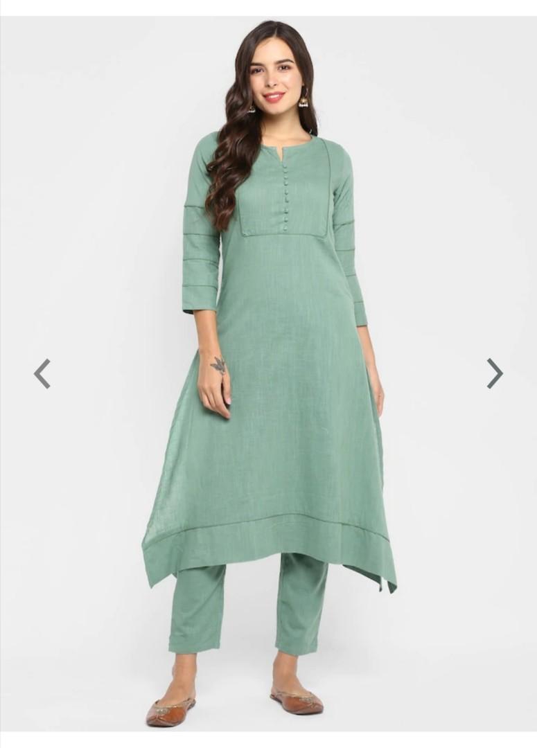 Aprique FAB Women Green Solid A-Line Kurta, Product Code: 12531626