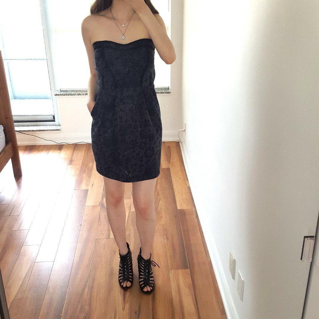 Black & Grey Strapless Dress