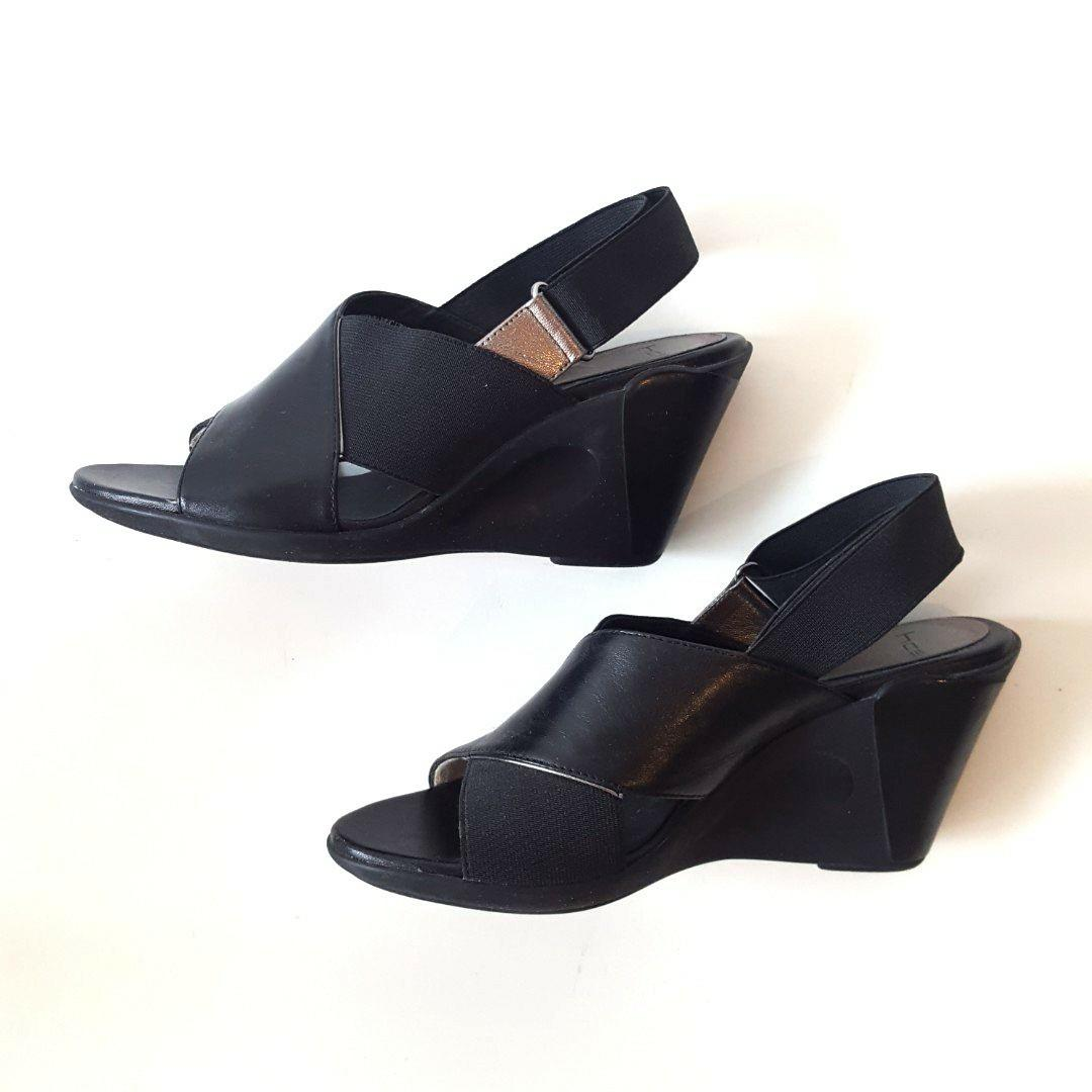 Black Leather Wedges Sandals