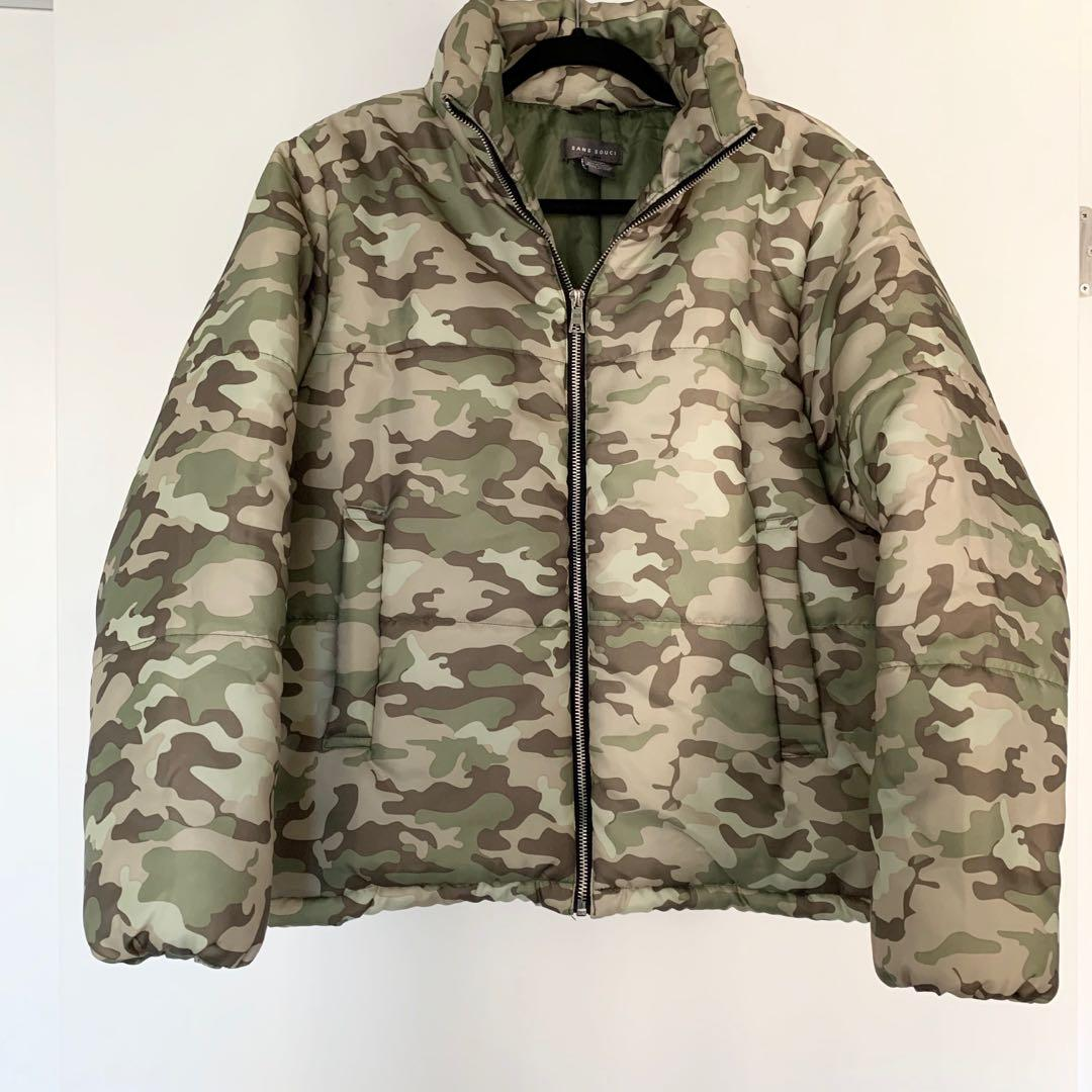 Camouflage Puffy Bomber Jacket