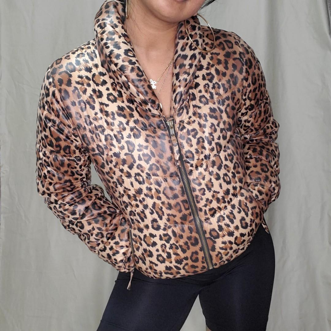 cheetah print puffer jacket
