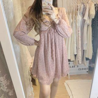 floral long-sleeved sweetheart dress