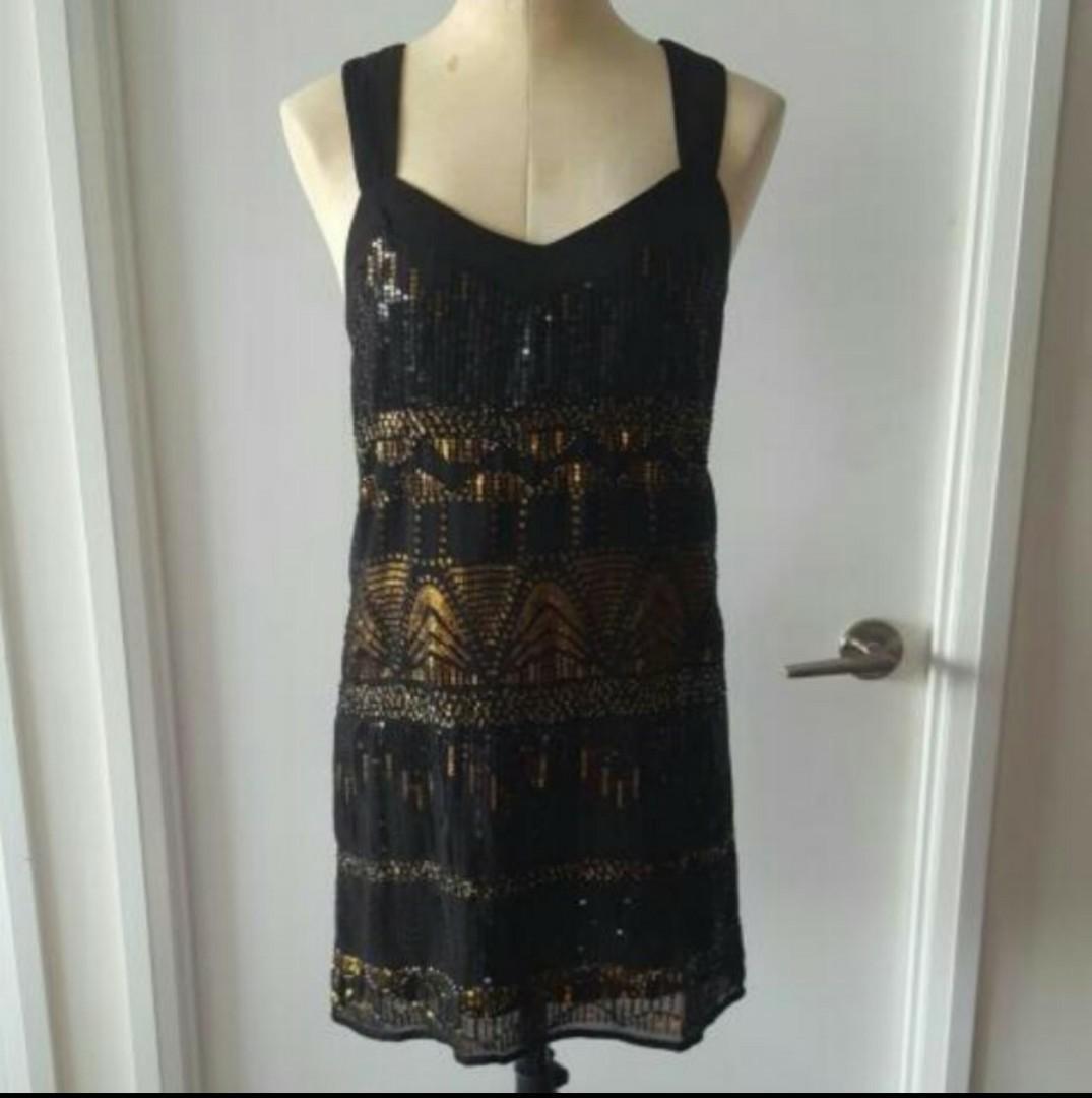 Gold & Black Sequined Dress
