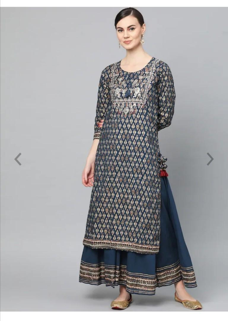 Ishin Women Navy Blue & Golden Block Printed Kurta with Palazzos, Product Code: 11250714