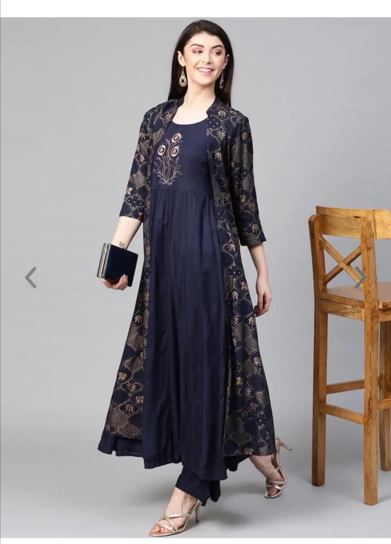 Ishin Women Navy Blue Printed Kurta with Palazzos and Jacket, Product Code: 9654711