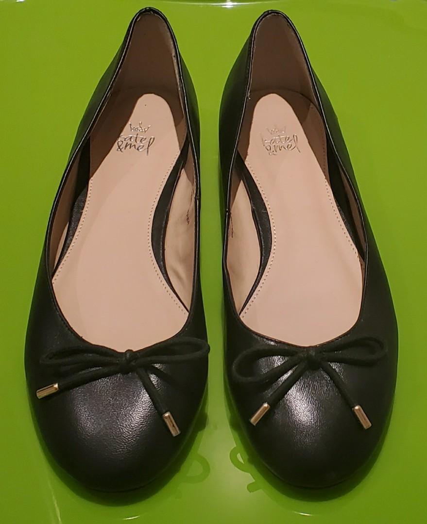 Low Heel Black Leather Flat Pump Shoes _ Size 36