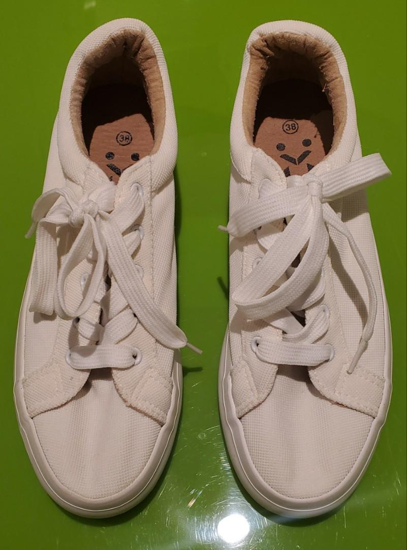 Low-top White Textile Sneakers - Size 37