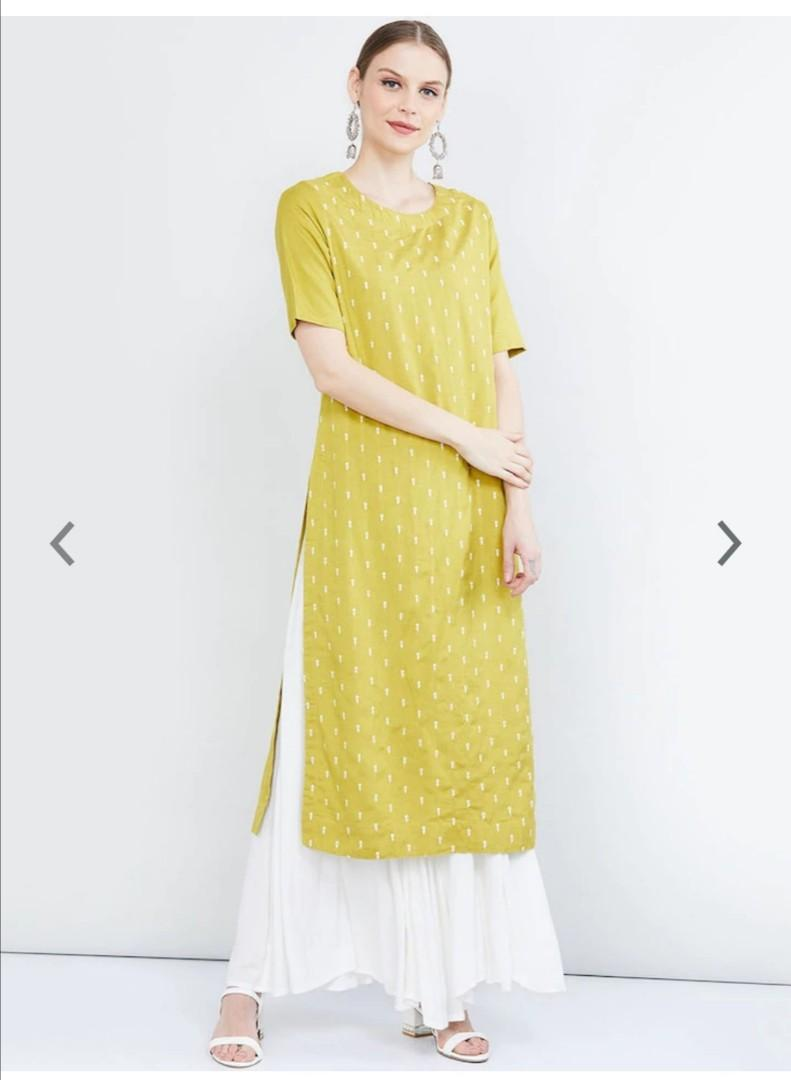 max Women Lime Green & White Solid Straight Kurta, Product Code: 12732692