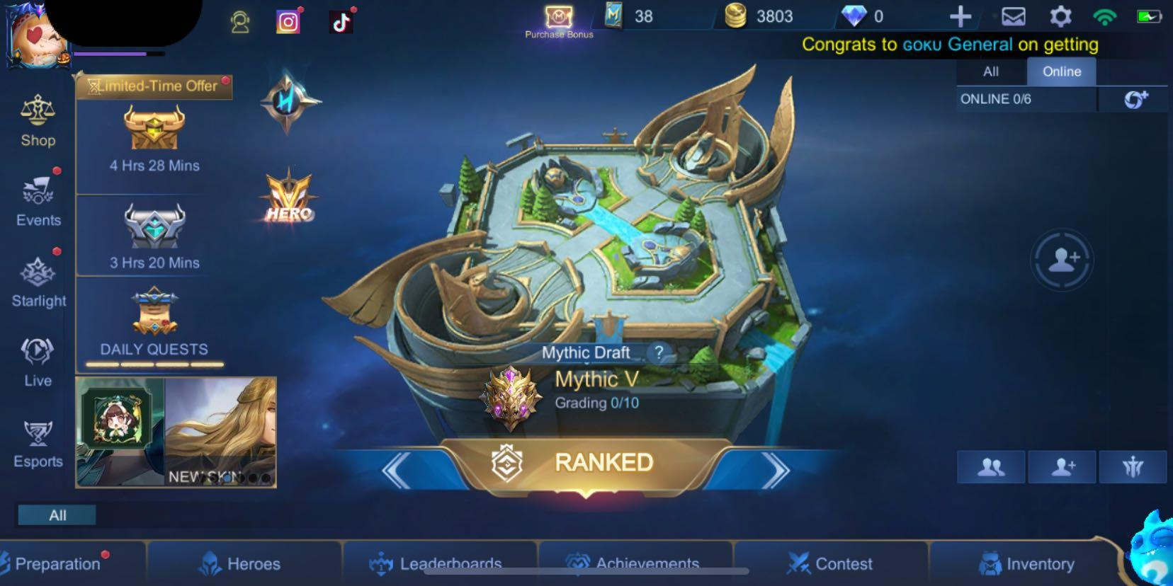 Mobile Legends Mythic Account Toys Games Video Gaming Video Games On Carousell