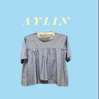 Preloved This is April - baju garis biru putih