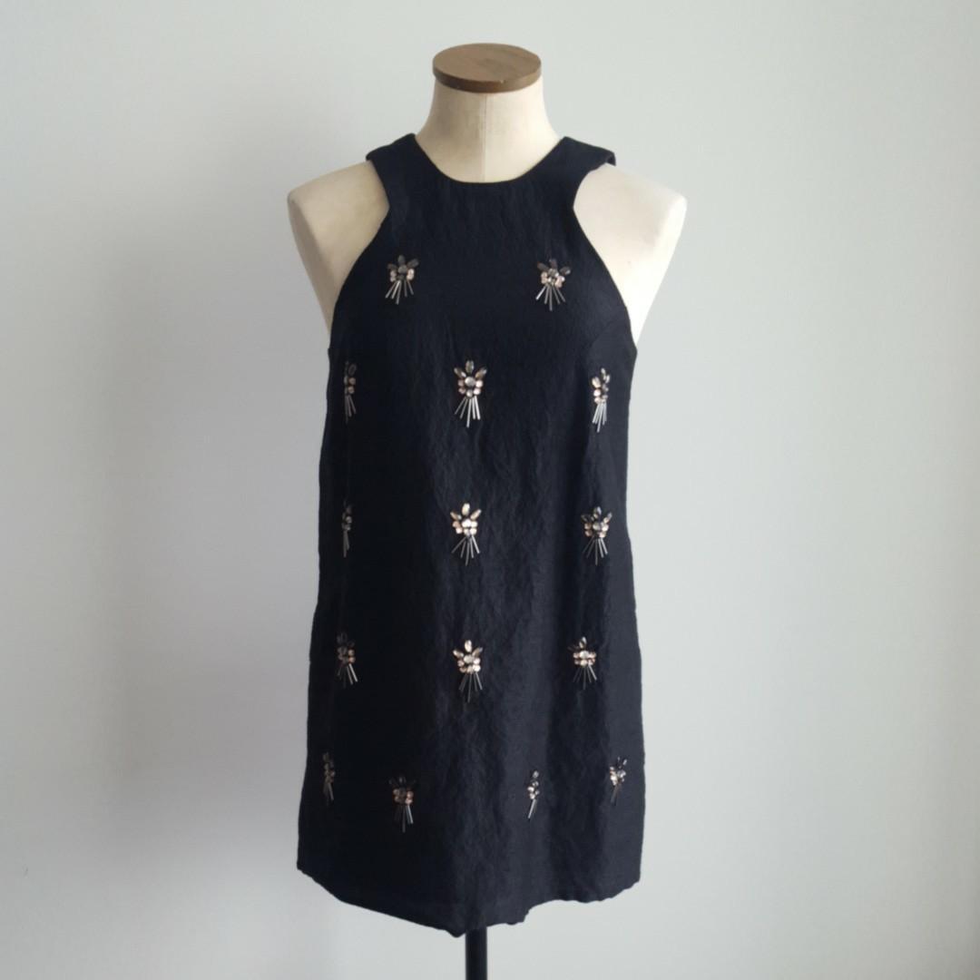 Topshop Black Beaded Dress