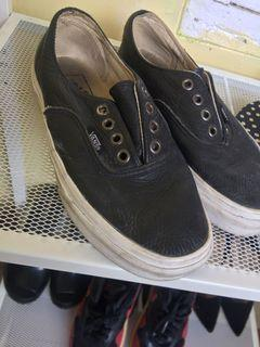vans leather limited edition japan 36 black original auth with box
