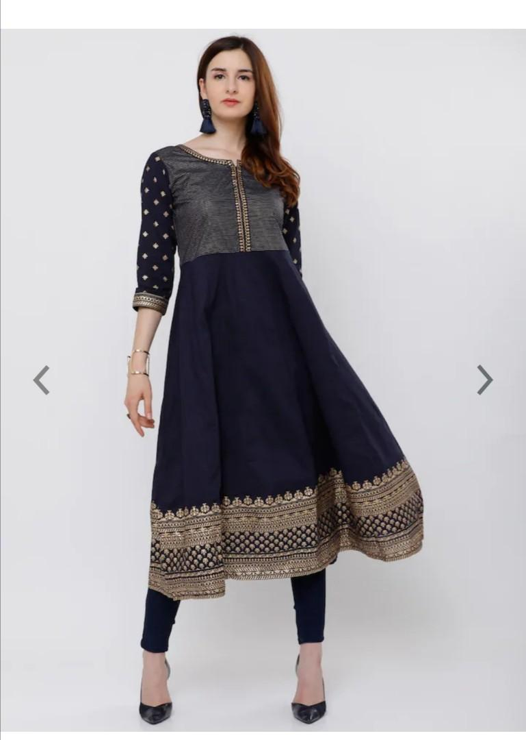 Vishudh Women Navy Blue & Gold-Toned Yoke Design Anarkali Kurta, Product Code: 6630413