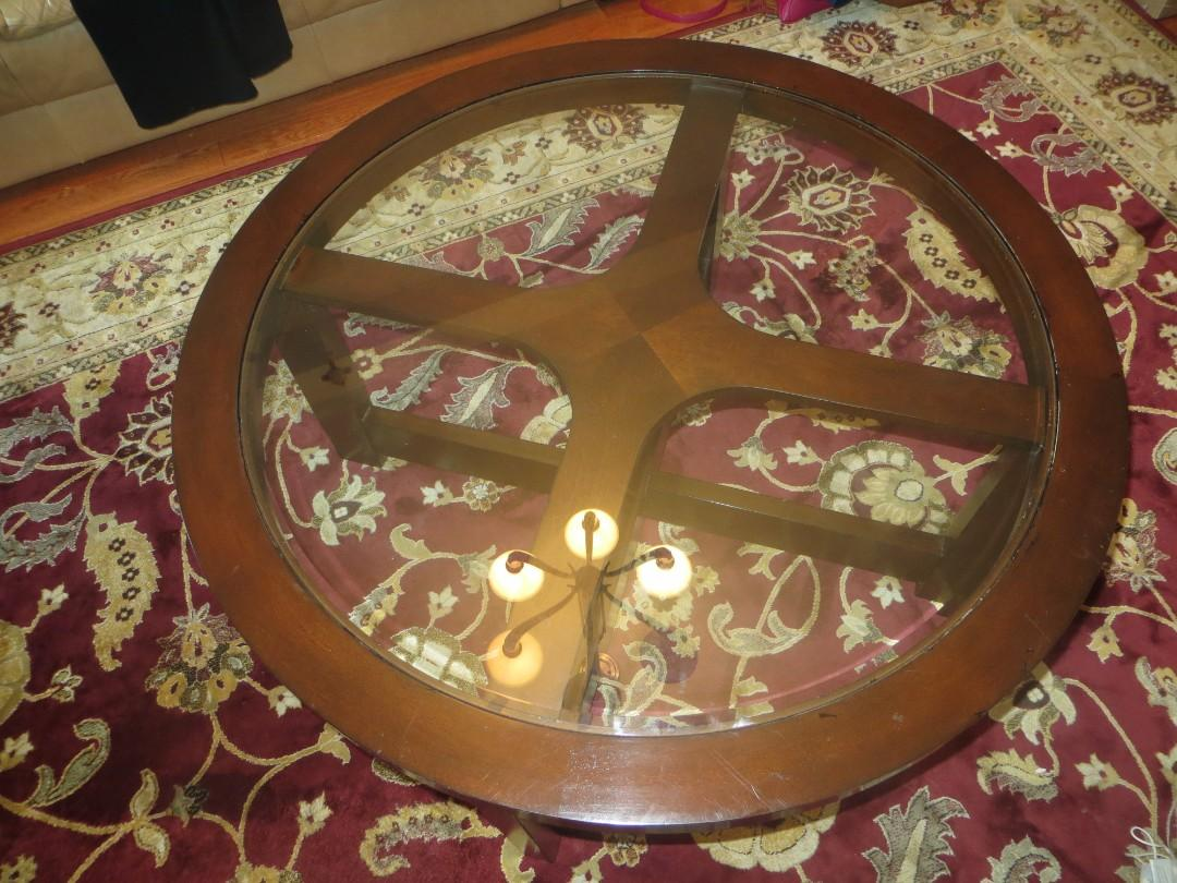 Wood and Glass Circle Table