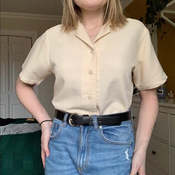 yellow button up blouse