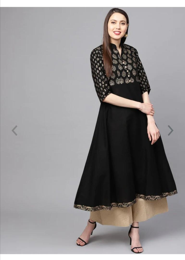 ZOEYAMS Women Black Block Printed Anarkali Kurta, Product Code: 12663922