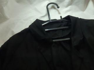 棉麻一粒扣黑色西裝外套