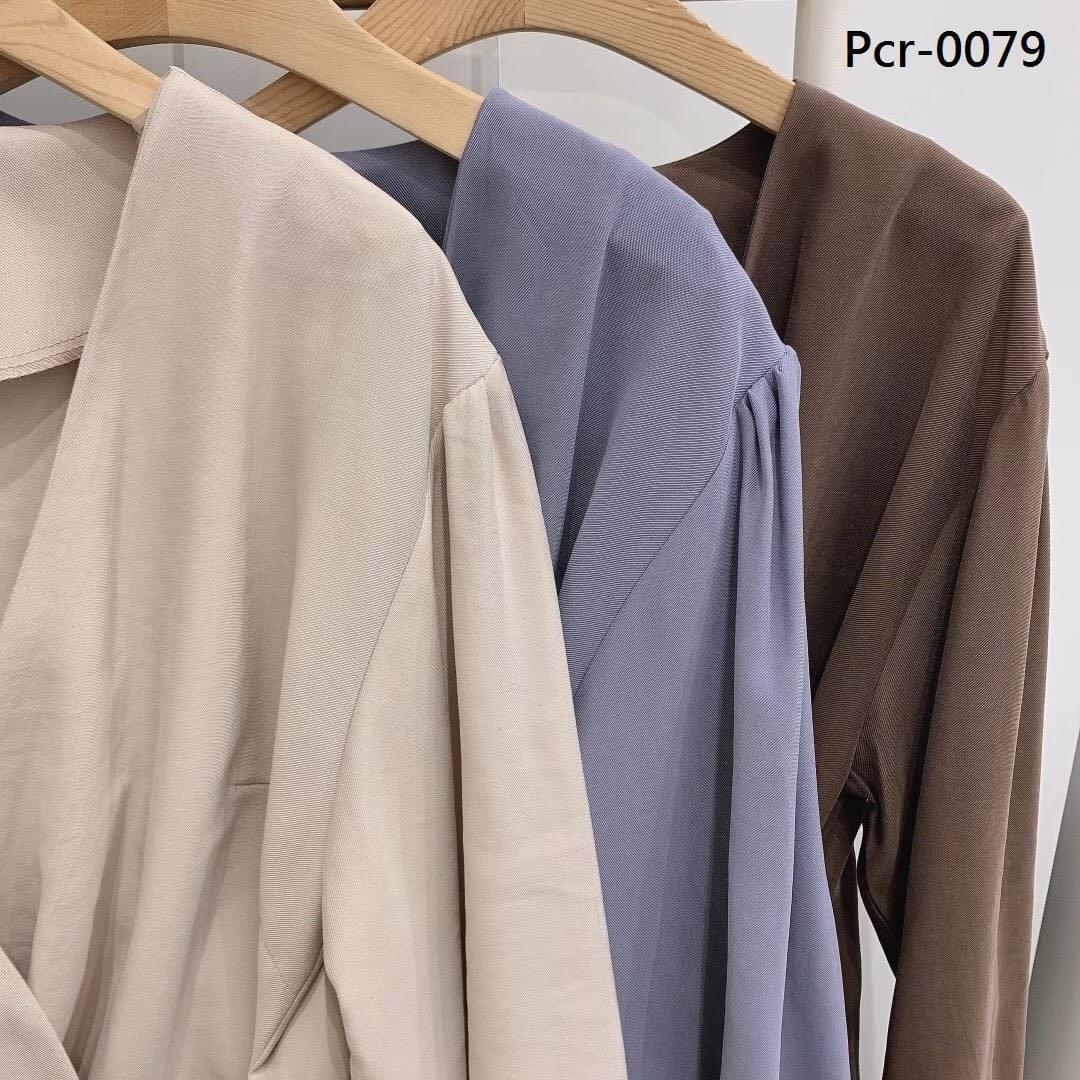 正韓- DDP - 秋冬氣質名媛風V領側綁結上衣(Pcr-0079)